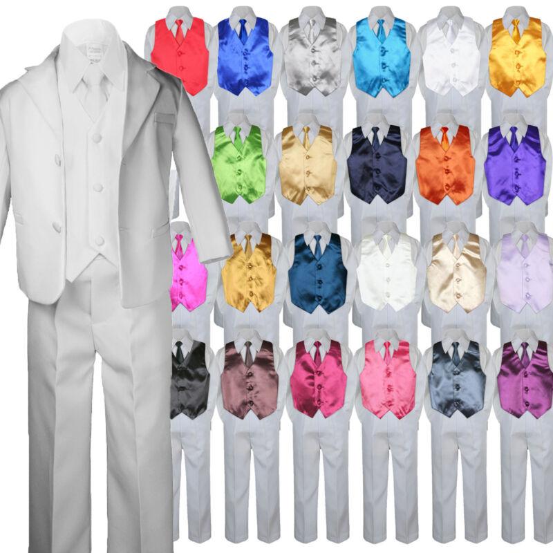 7pc Boy Baby Kid Teen Formal Wedding White Suit Tuxedo Extra Vest Necktie sz S-7