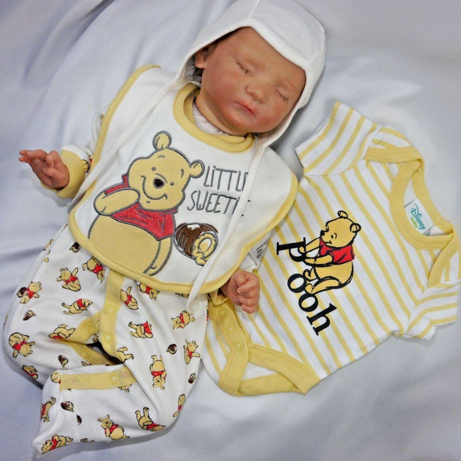 ❤NEU,3 tlg. Baby Unisex Strampler Set ,Erstlingsoutfit  Winnie Pooh Gr.56.62.68