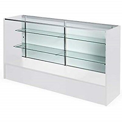 Retail Glass Display Case Full Vision White 6 Showcase