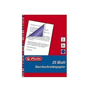 25 Blatt DIN A4 Herlitz Blaubogen Blaupapier Durchschreibepapier Pauspapier