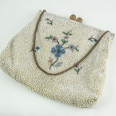 French Multi Colored Glass Beaded Evening Bag, Hand Made. Chic High Fashion 20's