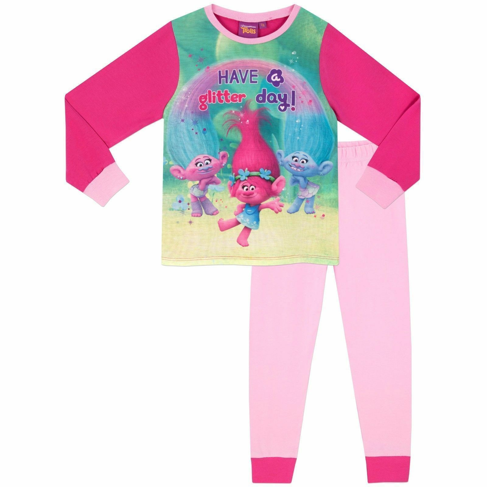 Girls Character Fleece Sleepsuit All in 1 Jumpsuit Warm Pyjamas Size 2 to 8 Year