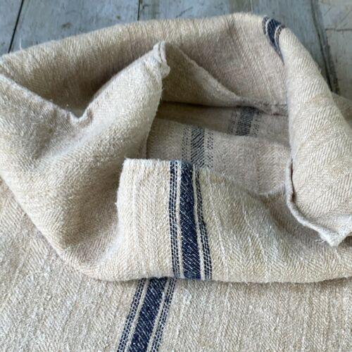 INDIGO BLUE fabric grainsack grain sack hand woven linen hemp The Textile Trunk