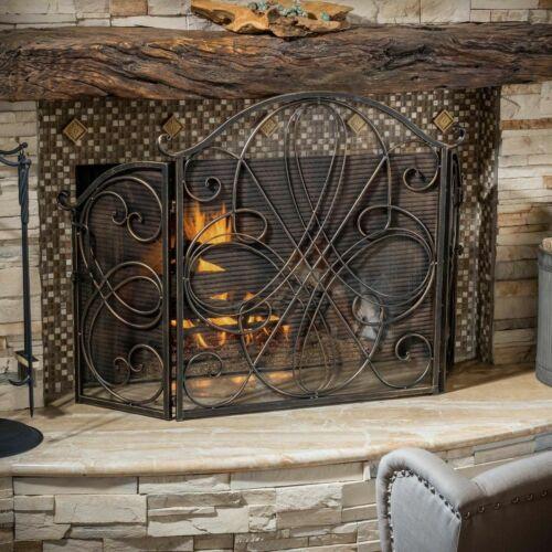 Rosalinda Black Gold Finish Floral Iron Fireplace Screen Fireplace Screens & Doors