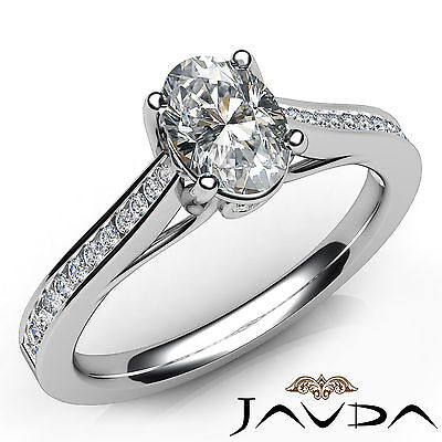 Trellis Style Channel Bezel Set Oval Cut Diamond Engagement Ring GIA F VS2 0.8Ct