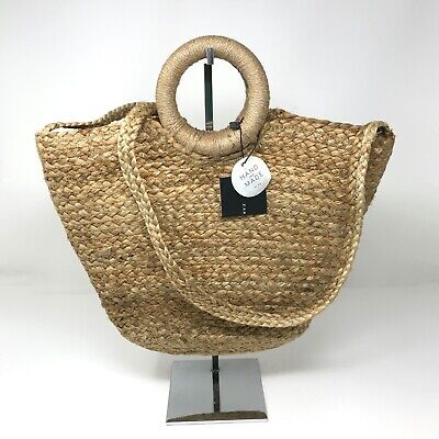 Zara Hand Made Woven Soft Straw Packable Round Handle Shoulder Bag Tote Purse