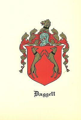 Great Coat of Arms Daggett Family Crest genealogy, would look great framed!