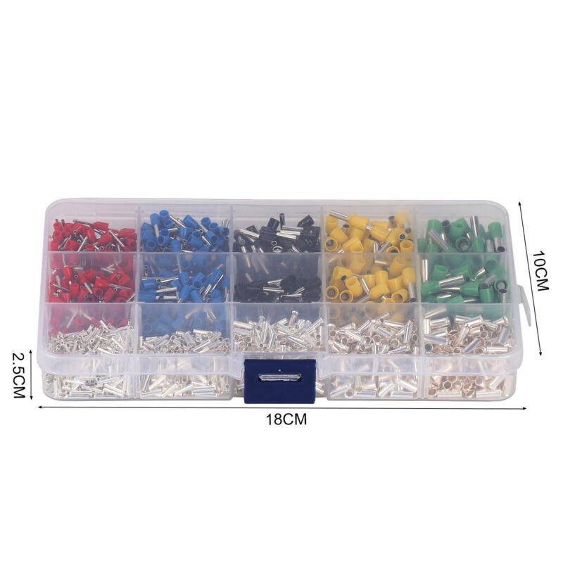 1640Tlg.Aderendhülsen Set Sortiment 0,5-4,0mm² Aderendhülse Isoliert Kabelschuhe