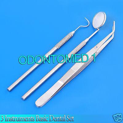 03 Instruments Basic Dental Set Mirror Explorer College Plier Pr-0079