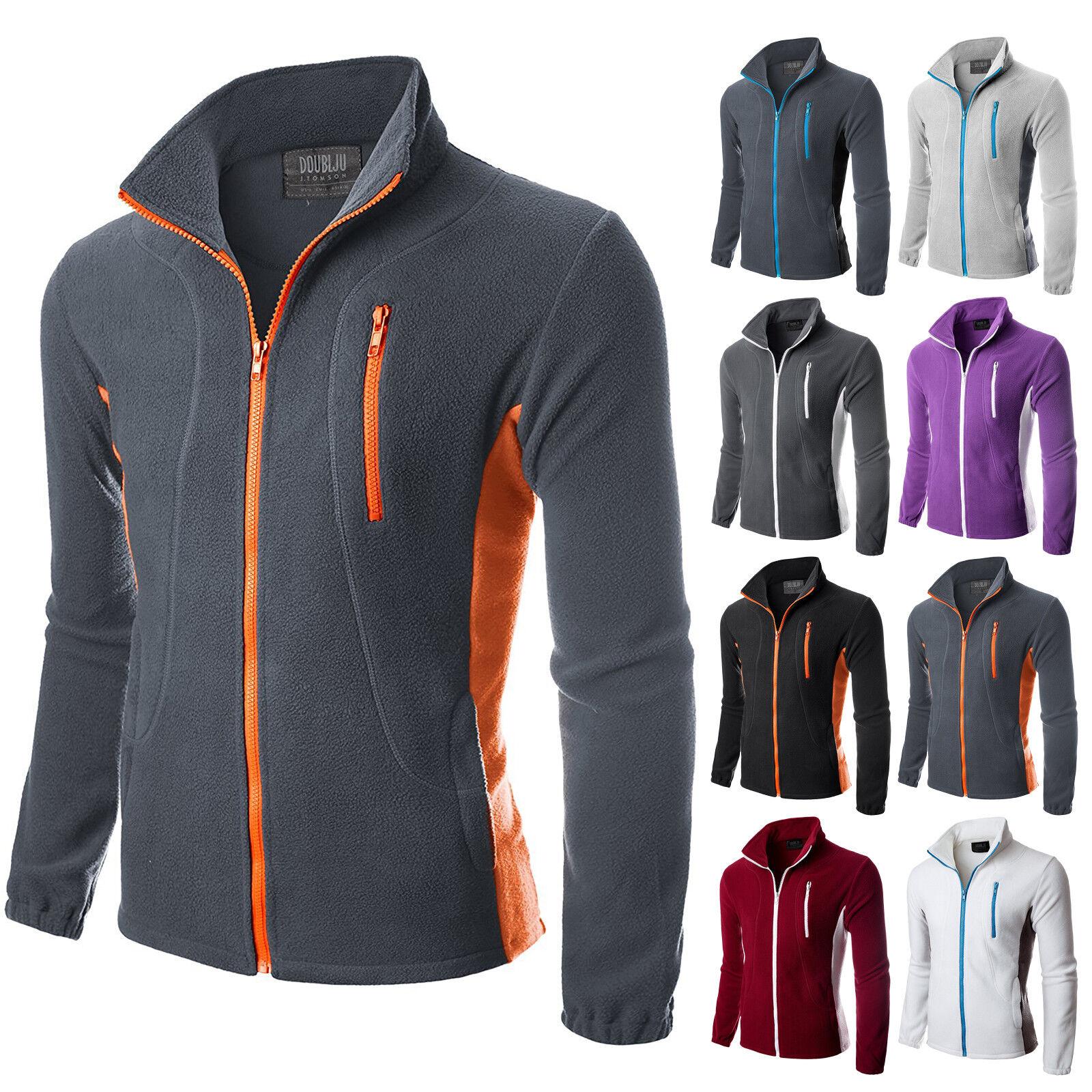 Doublju Mens Zipper Colorblock Lightweight Fleece Jacket