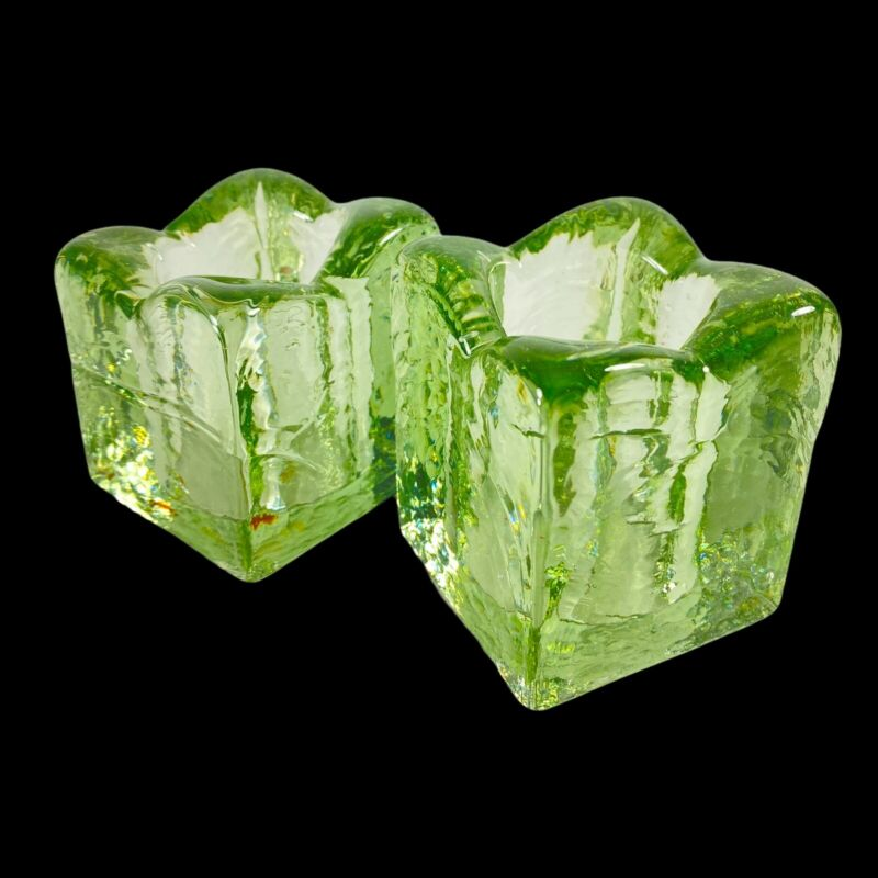 """Vintage Studio Art Glass Candle Holder Recycle Glass 3""""T 2""""W Flower Shaped Hreen"""