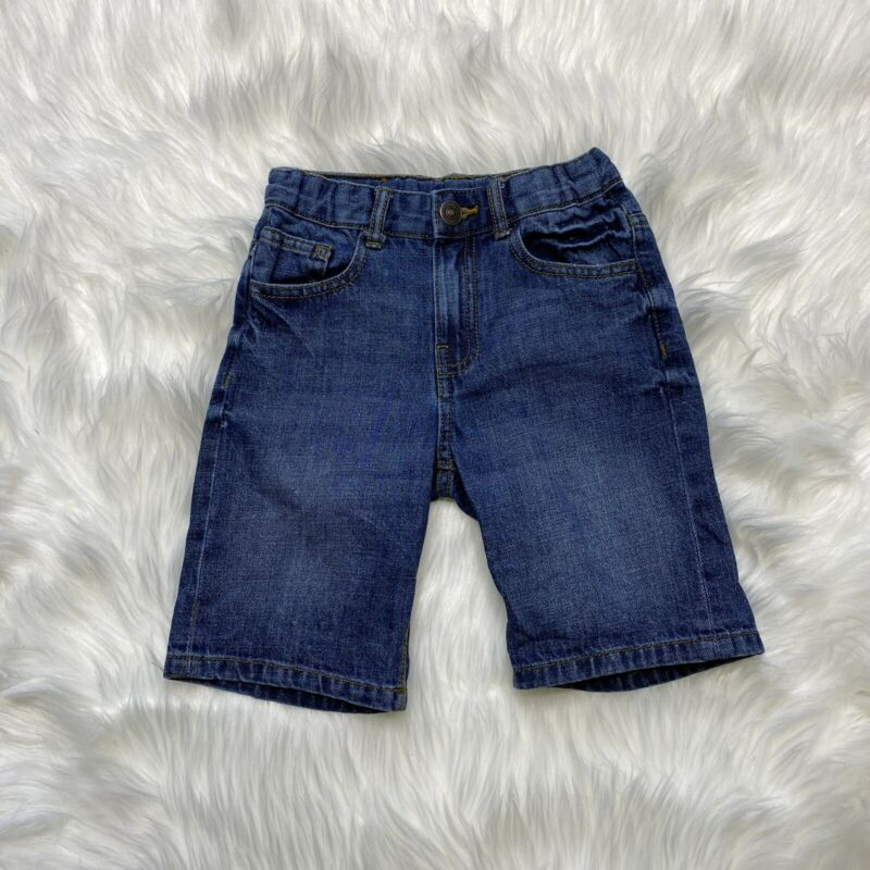Zara Boys Blue Denim Jean Shorts Bermuda Size 6 Adjustable Waist
