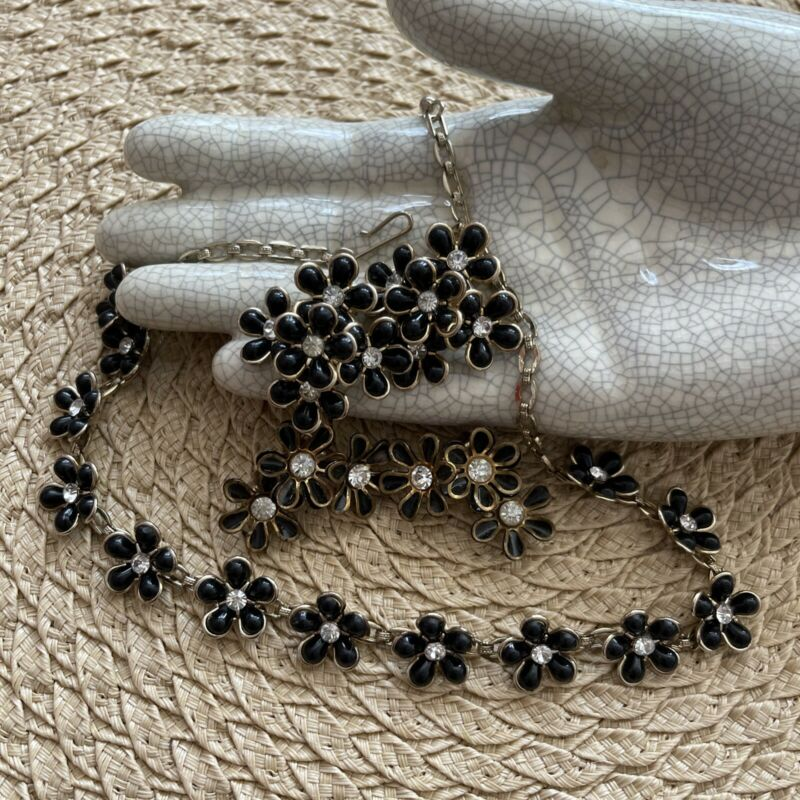 Vintage Jewelry Set CORO Necklace W 2 Pairs Clip Earrings BLACK FLOWERS