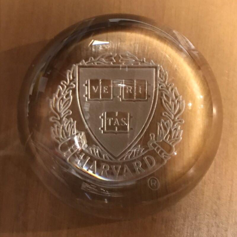 Vintage Harvard Glass VE RI TAS Lucite Rowing Team Paperweight