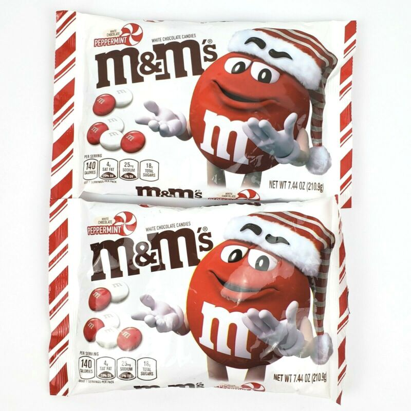 Lot (2) Bags M&Ms Christmas Holiday White Chocolate Peppermint Candy 7.44oz ea