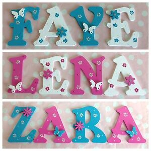 personalised child kids wall door wooden letters name plaque gift any