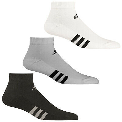 Adidas Mens 3-Stripe Ankle Sports Socks -3 Pair Pack Lo Cut Training Tennis Golf