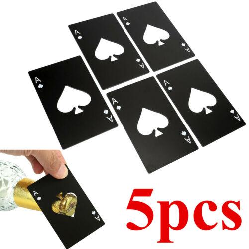 5x Black Ace Spades Card Steel Beer Drink Bottle Open Poker Bar Tool Fit Wallet