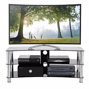 Tv Stand Fits 32 55 Inch Led Lcd 3 Gl Shelf Curved Cabinet Chrome