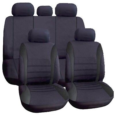 Universal Car Seat Covers Full Set All Black Washable Fits Audi A1 A2 A3 A4 90