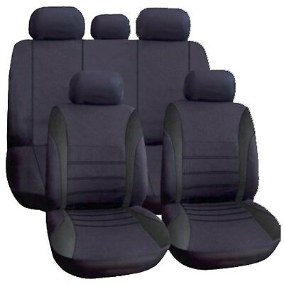 Universal Car Seat Covers Full Set All Black Washable Airbag fits Alfa Romeo