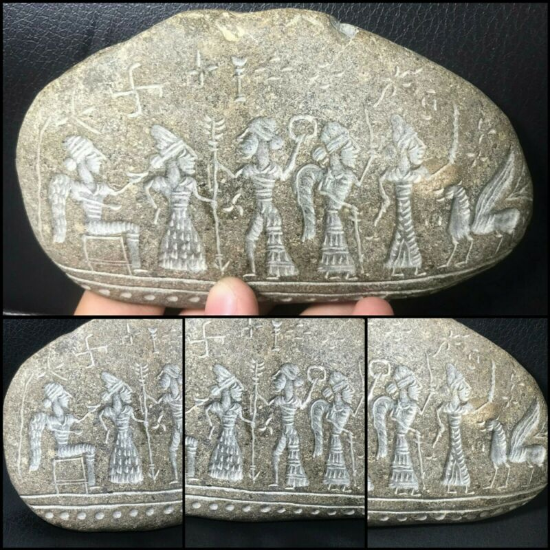 NearEastern Ancient Very Old Natural Mountain Stone Roman Family Carved Relief