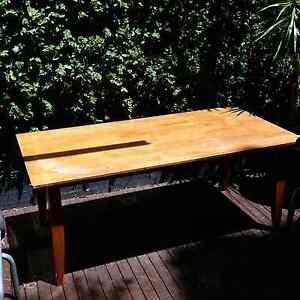 Wooden table and 2 blue upholstered chairs Waverley Eastern Suburbs Preview