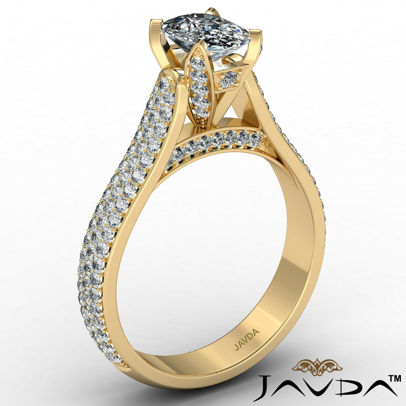 3 Row Shank Cushion Diamond Engagement Ring GIA E Color & SI1 clarity 2.35 ctw 4