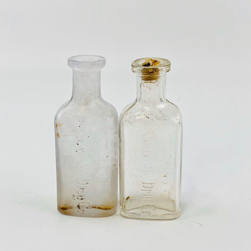 Vintage Sun Drug Co. Mini Bottles Set Of 2 Apothecary Cork Top