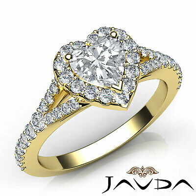 Halo Split Shank U Pave Setting Heart Cut Diamond Engagement Ring GIA H VS1 1Ct