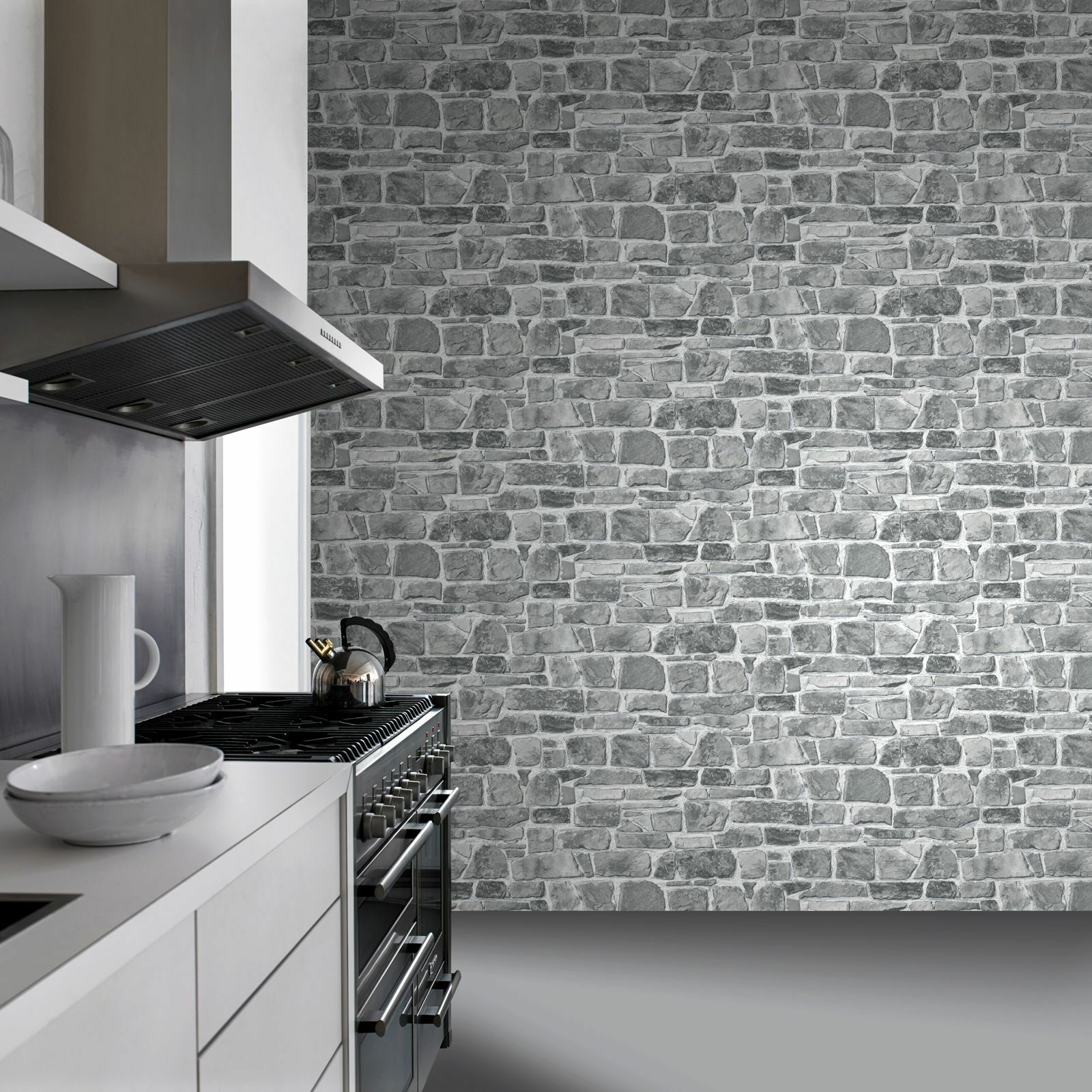 Grey stone wall wallpaper rasch 265620 new feature for Wallpaper lounge feature wall