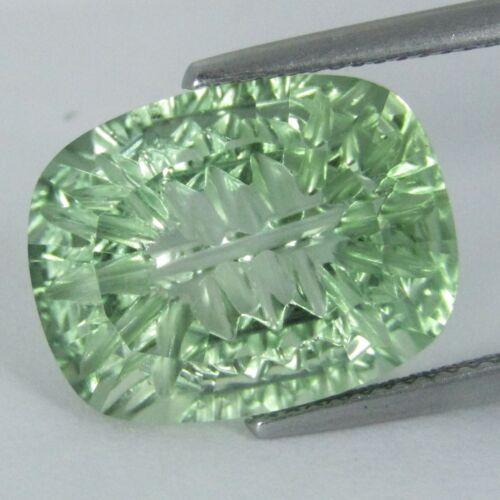 11.91Cts Natural Green Amethyst (prasiolite) Cushion Cut Loose Gemstone REF VDO