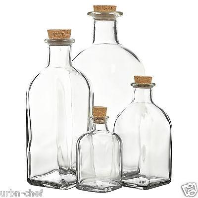 Translucent Food Jar - 3 6 9 12 Glass Bottle Jars Vials Cork Lid Stopper Kitchen Food Storage Cruet Set