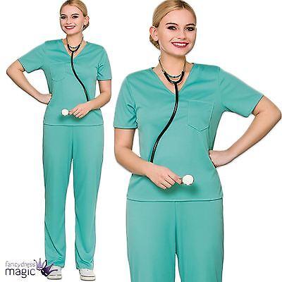 Ladies Adults ER Scrubs Doctor Surgeon Hospital Nurse Fancy Dress Costume Outfit