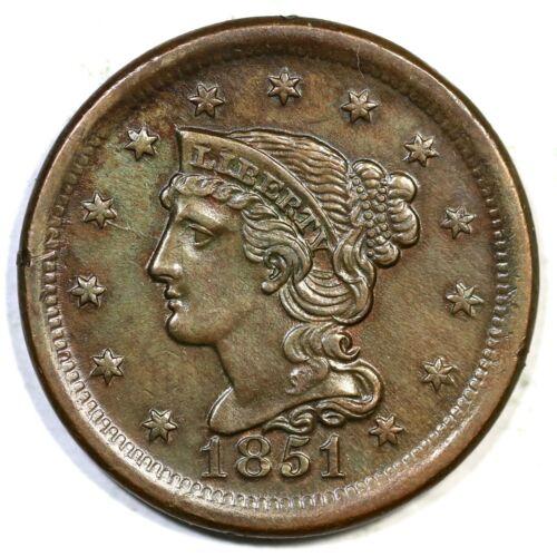1851 N-19 R-3 Braided Hair Large Cent Coin 1c