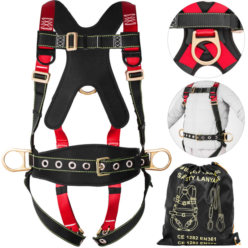 Full Body Safety Harness Fall Protection 3D-Ring Back Support Belt Shoulder Pad