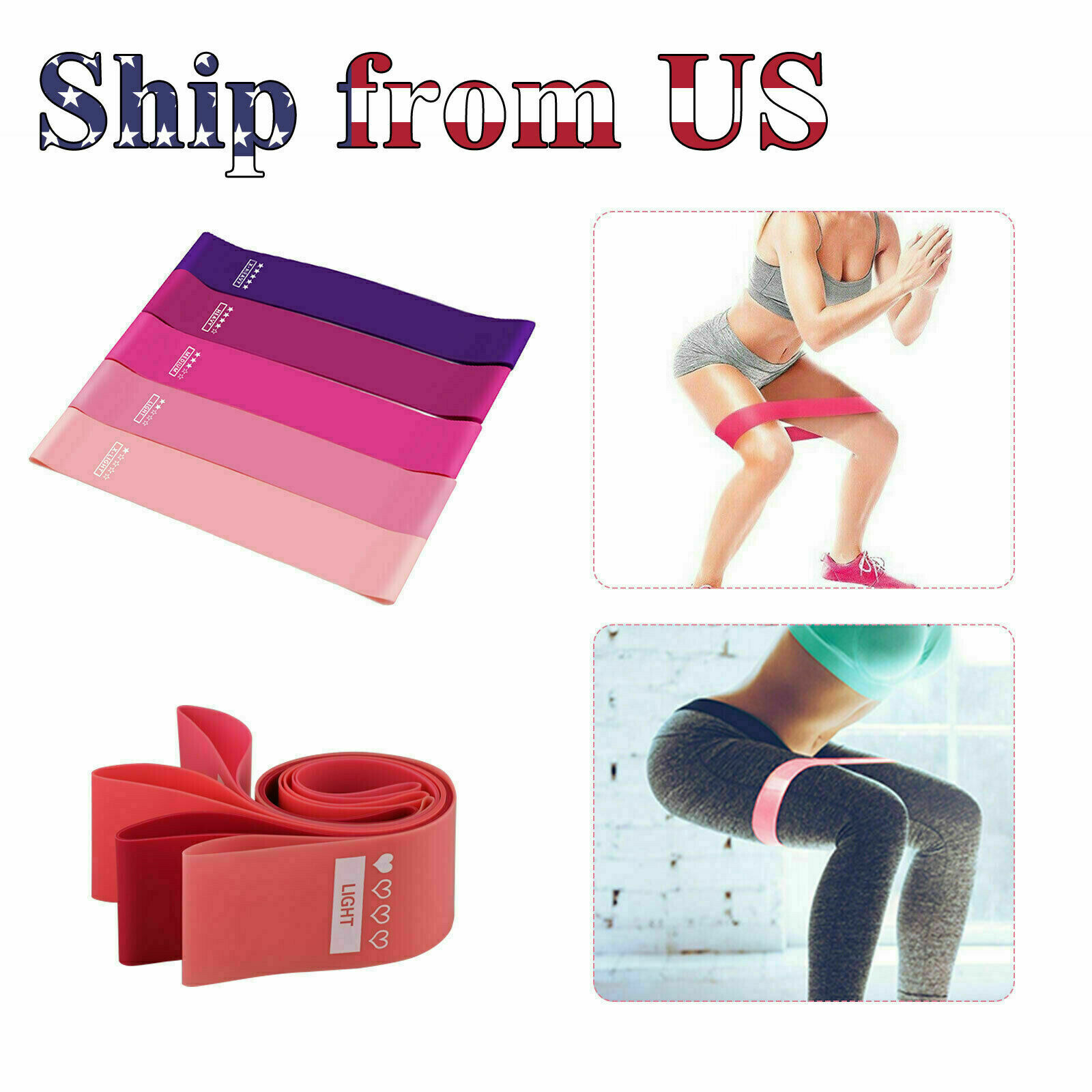 Resistance Bands Workout Loop Set 5 Legs Exercise CrossFit Fitness Yoga Booty Fitness Equipment & Gear