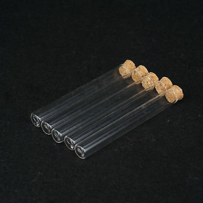 5pcs Multiple Lab Glass Test Tube Flat Bottom With Wood Stopper Thermostability