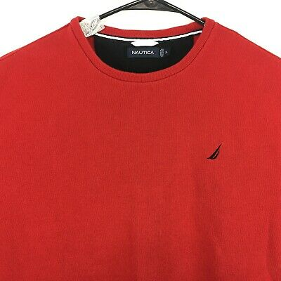Nautica Crew Neck Long Sleeve Red Cotton Mens Sweater - Great Condition Size XL