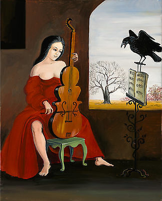 ACEO PRINT OF PAINTING RYTA CROW GOTHIC WITCH VINTAGE ANTIQUE STYLE HALLOWEEN