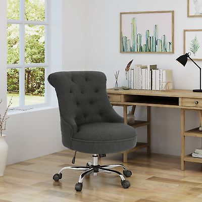 Tyesha Modern Tufted Fabric Adjustable Swivel Desk Chair With Rolling Casters