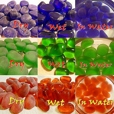 20 RED DARK BLUE GREEN SEA GLASS PEBBLES MACHINE TUMBLED GARDEN DECOR FISH - Dark Blue Sea Glass