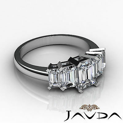 5 Stone Emerald Diamond Flashy Engagement Ring GIA H VS2 14k White Gold 2.5 ct 2