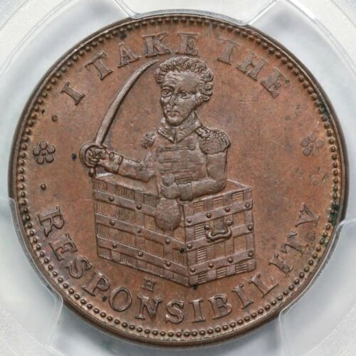 1833 Low-51 HT-70 PCGS MS 63 BN I Take The Responsibility Hard Times Token