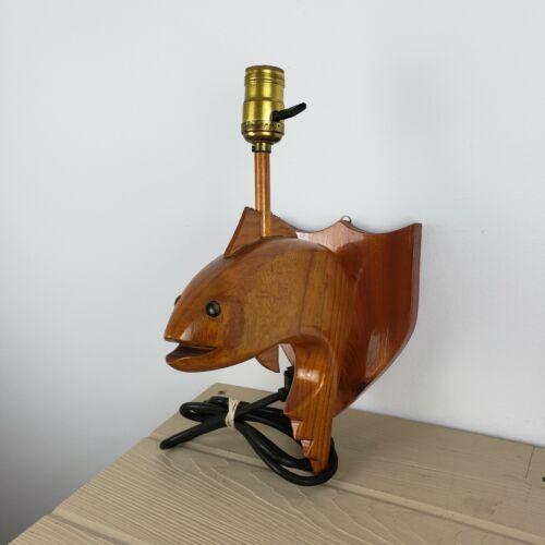 Vintage Handmade Carved Fish Lamp
