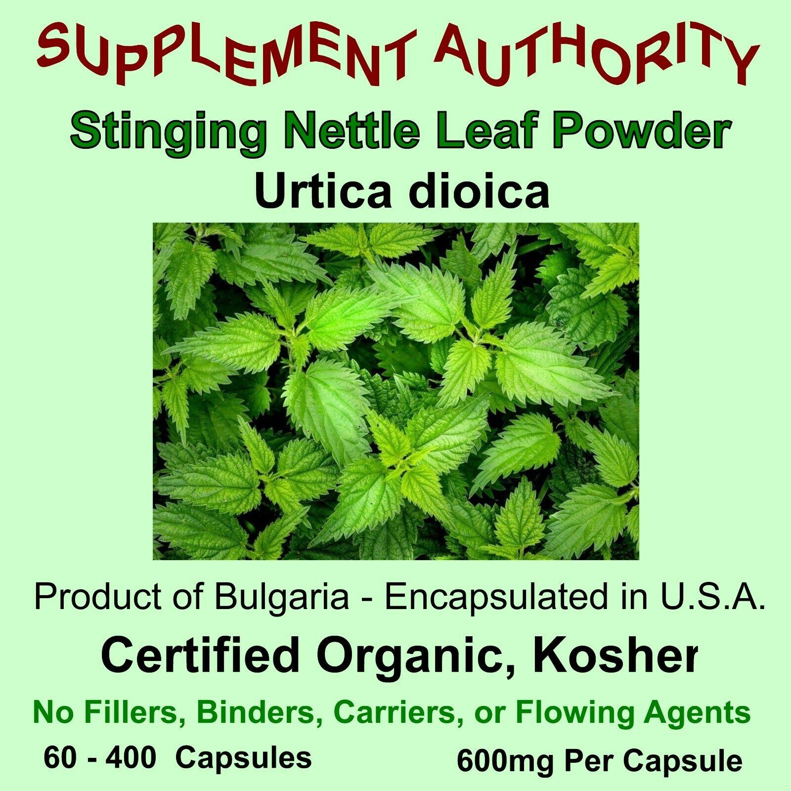 Stinging Nettle Leaf Powder Capsules - Certified Organic, Kosher - NEW & FRESH!
