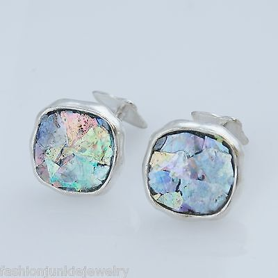 Ancient Roman Glass Cuff Links - 925 Sterling Silver - Men's