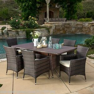 (7-Piece) Outdoor Patio Furniture Multibrown Wicker Dining Set w/ Cushions