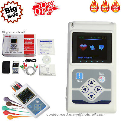 New 3-channel Ecgekg Holter System Analyzer 24h Software Recorder Monitor Usa