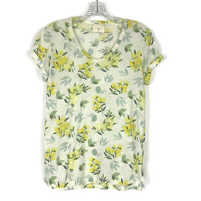 Anthropologie TLa T Shirt womens S Cream Yellow Rose Floral Print Roselyn Cotton